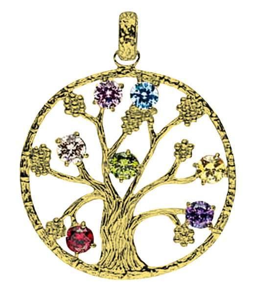 """Anhänger """"Baum des Lebens"""" mit 7 Zirkonia Messing 5,7g 3cm"""