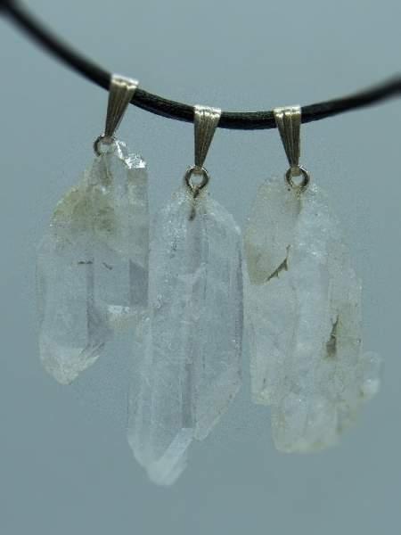 Faden-Quarz aus dem Himalaya, mit Silberöse, 3 Stück