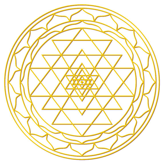 "Aufkleber Set 4x3cm/1x7,5cm gold-transparent ""Sri-Yantra"""