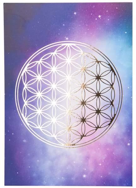 Blume des Lebens Postkarte Universum Gold A6