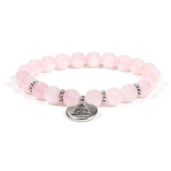 Mala/Armband Rosenquarz elastisch mit Buddha