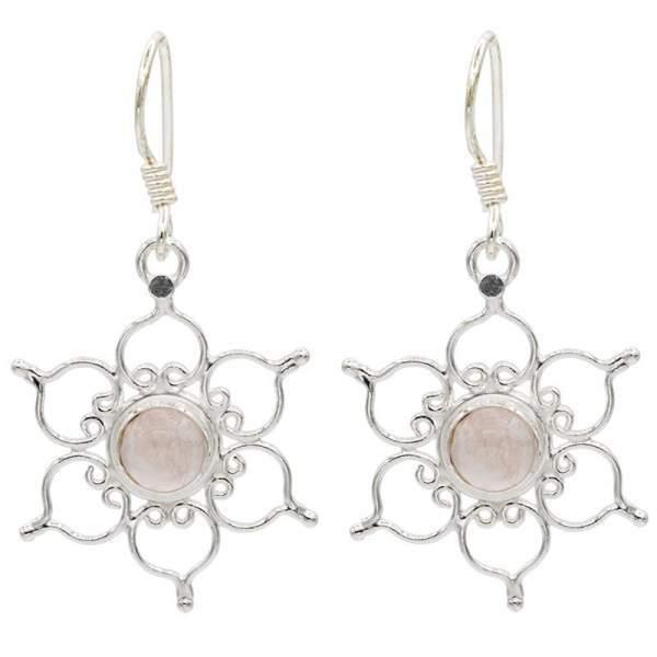 Ohrhänger Lotus 925er Silber mit Rosenquarz -- 3 cm