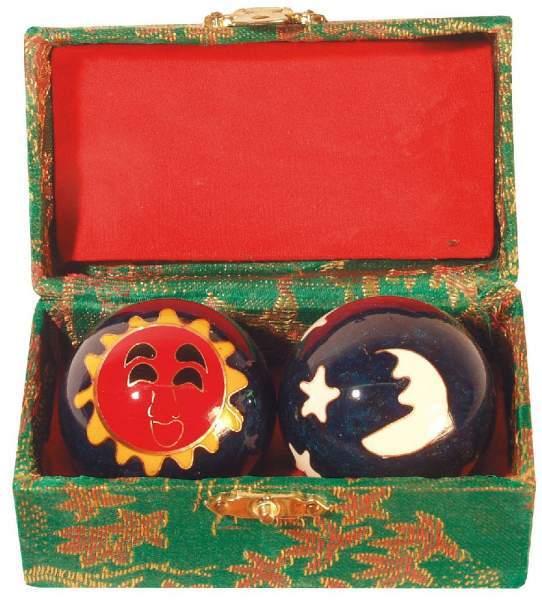Qi Gong Kugel Sonne/Mond grün 35mm