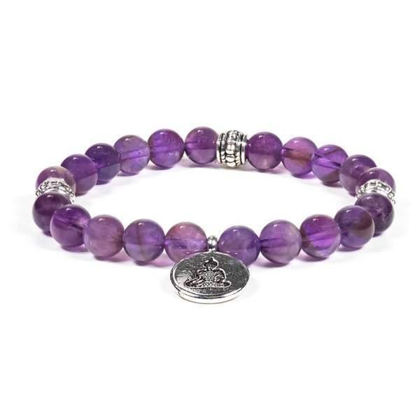 Mala/Armband Amethyst elastisch mit Buddha