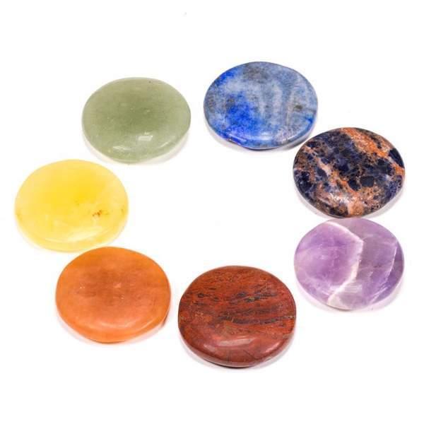 SET 7 runde Chakrasteine -- 3.5 cm