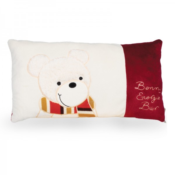 Benny weiß / rot Kissen gerade, 43 x 25 cm