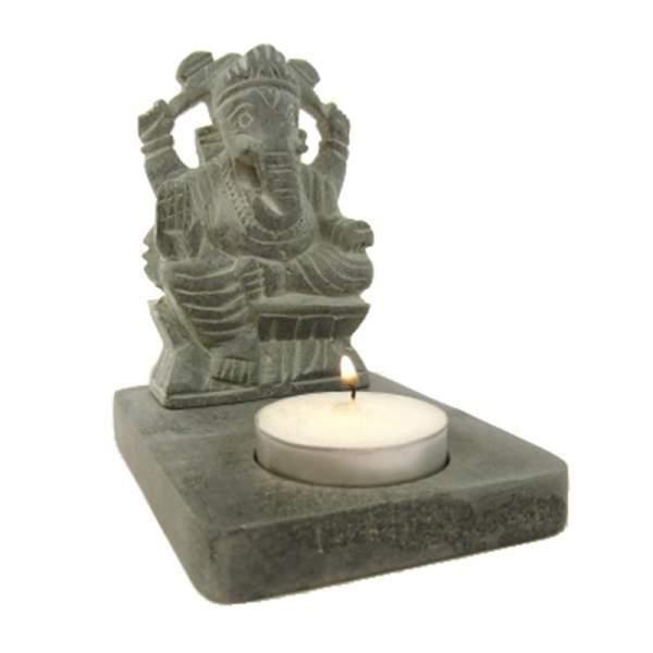 Teelicht-Halter Speckstein grau Ganesha -- 11 cm