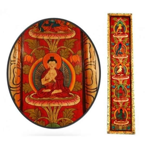 5 Buddhas handbemaltes Tafelbild rot -- 91x20 cm