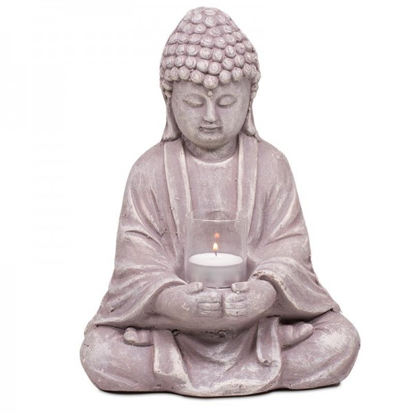 Buddha mit Glas Zement -- 1020 g 20x14x28 cm