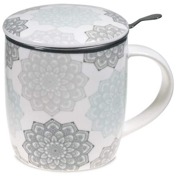 Set Teetasse Mandala grau -- 400 ml