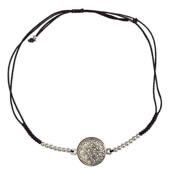 """Armband """"Blume des Lebens"""" 1,2cm Silber 925 mit verstellbarem Baumwollband Ø8cm"""