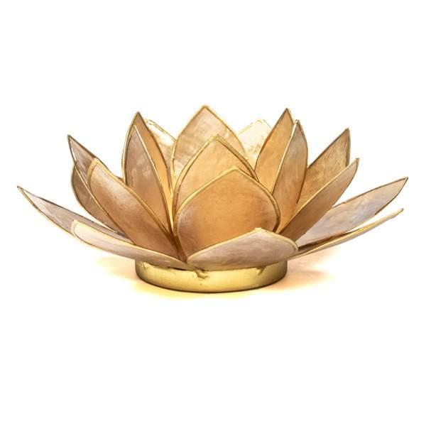 Lotus Teelichthalter beige goldfarbig -- 13.5 cm