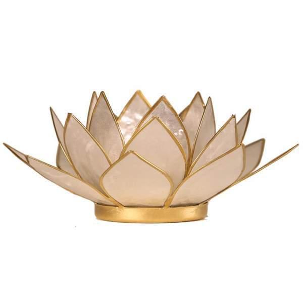 Lotus Teelichthalter weiß goldfarbig -- 13.5 cm