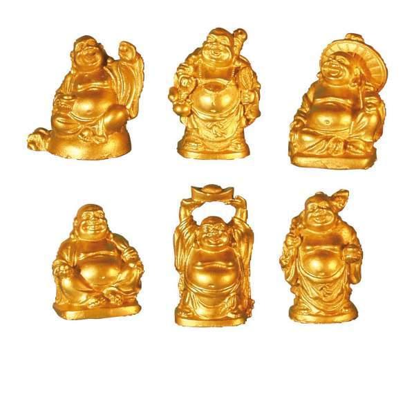 """""""Lachende Buddhas"""" Kunststein goldfarben 6er Set 3x5cm"""