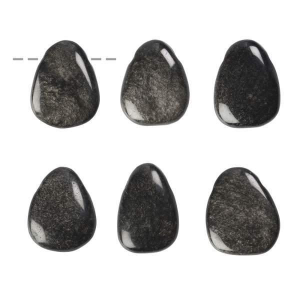 Trommelstein Obsidian (Silberglanzobsidian) gebohrt (VPE: 1.0 St./pc)