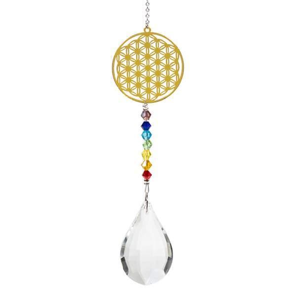 Kristalltropfen mit Chakrakette Blume des Lebens -- 29 cm