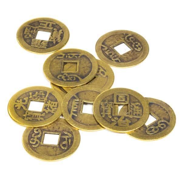 Set 10 Stück Chinesische Feng Shui Glücksmünzen -- 2,3 cm