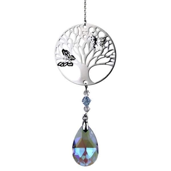 Tree of Life mit Regenbogen-Kristalltropfen violett -- 30 cm