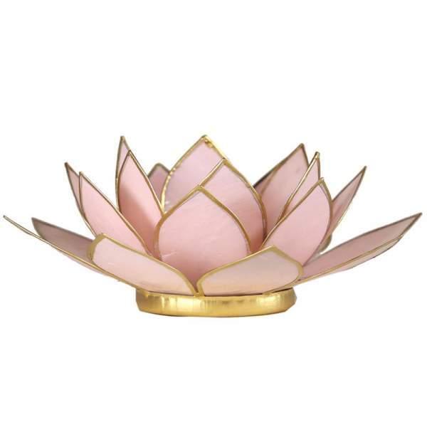 Lotus Teelichthalter rosa goldfarbig -- 13.5 cm