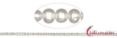 Strang rund, S??wasser-Perle A, weiß, 04-04,5mm
