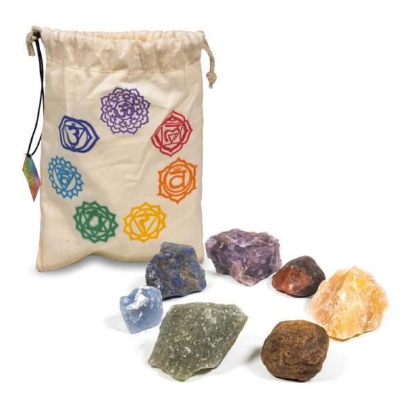 Set: 7 Chakrasteine in Baumwolltäschchen