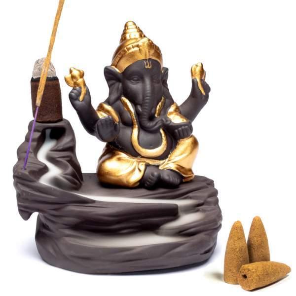 Rückfluss Weihrauchbrenner Ganesha -- 9x6x10cm