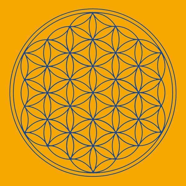 "Leinwanddruck ""Blume des Lebens"" Sakral-Chakra orange 20x20cm"