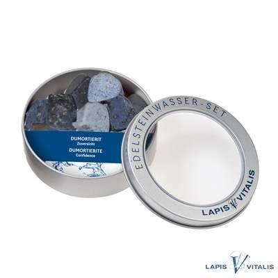 Wassersteine Dumortierit in Metall-Geschenkdose (VPE: 1.0 St./pc)
