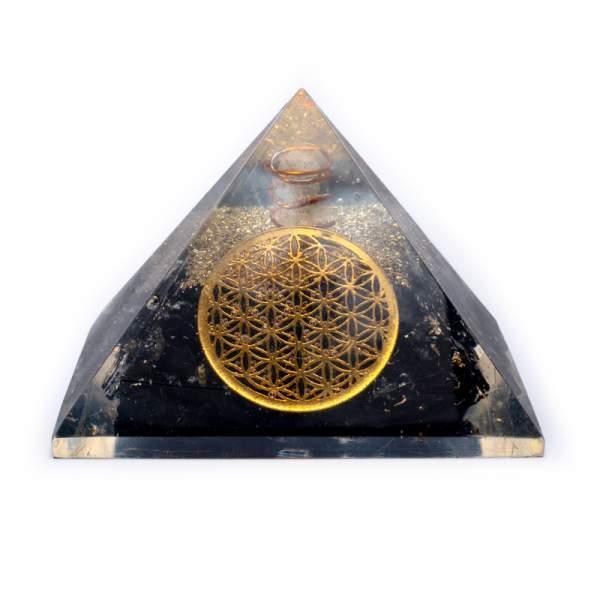 Turmalin Pyramide Schwarzer Turmalin + Bergkristall mit Blume des Lebens -- 7x7x6cm