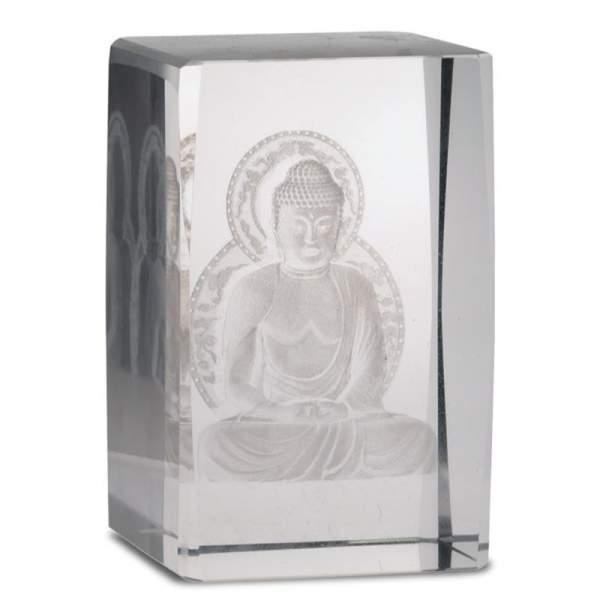 Kristall laser Buddha auf dem Lotus rechteckig -- 8x5x5 cm