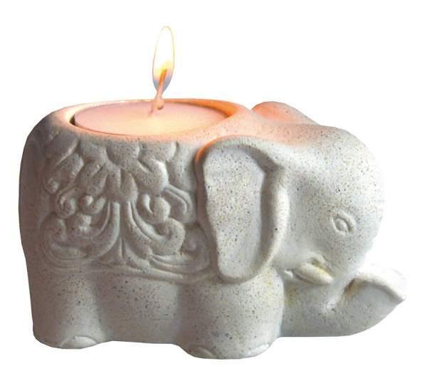 "Teelichthalter ""Elephant"" Resin weiss 10x6x6cm"