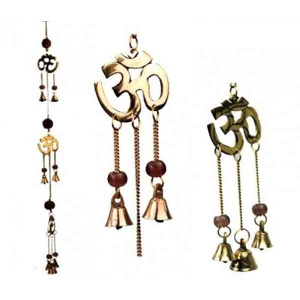 Glockenspiel Rudraksha mit Ohm Symbolen an Kordel -- 50 cm