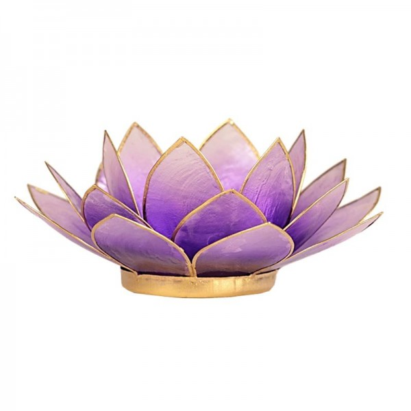 Lotus Teelichthalter violett goldfarbig -- 13.5 cm