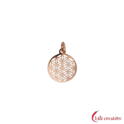 Blume des Lebens mit Öse und Ring 10mm, Silber rosevergoldet (4 St./VE) (VPE: 1.0 VE)