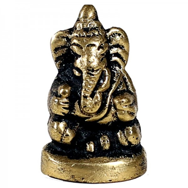 Ganesha Mini-Statuette sitzend Messing 3 cm