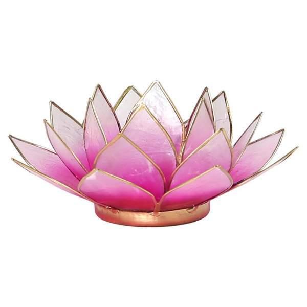 Lotus Teelichthalter rosa/weiß goldfarbig -- 13.5 cm
