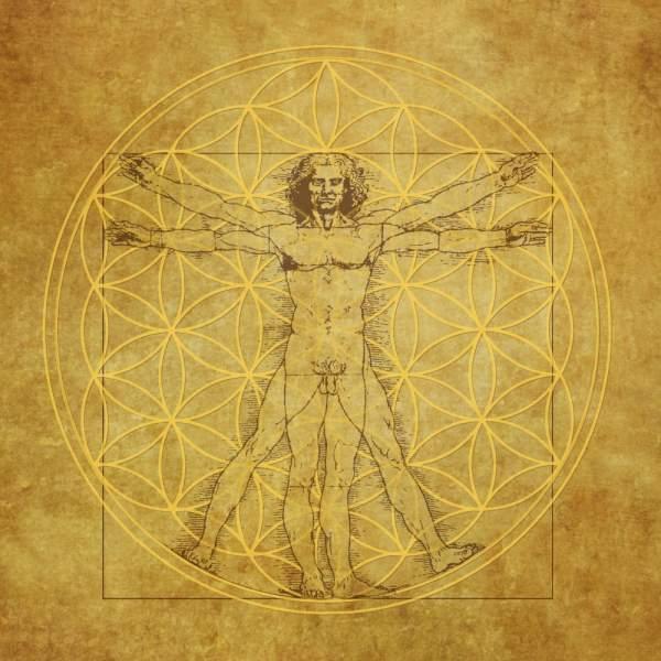 "Leinwanddruck ""Blume des Lebens"" Vituv-Da Vinci 40x40cm"