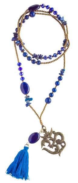 """Halskette """"Om"""" Lapislazuli-, Glas- und Messingperlen 82cm"""