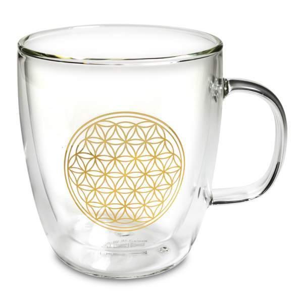Teeglas doppelwandig Blume des Lebens -- 400ml