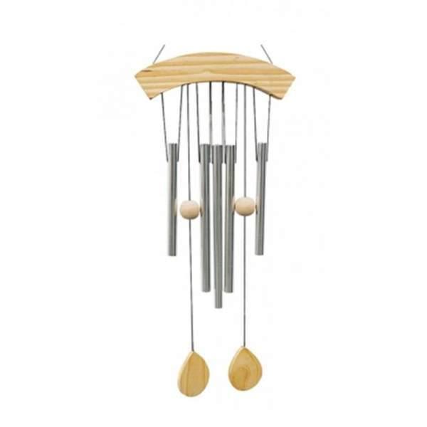 Windspiel mit 5 Klangstäben und Naturholz -- 64 cm