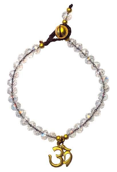 """Armkettchen """"Om"""" mit 33 Glasperlen, crystal 18cm"""