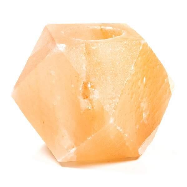 Salzkristall-Teelichhalter Diamant -- 1200g