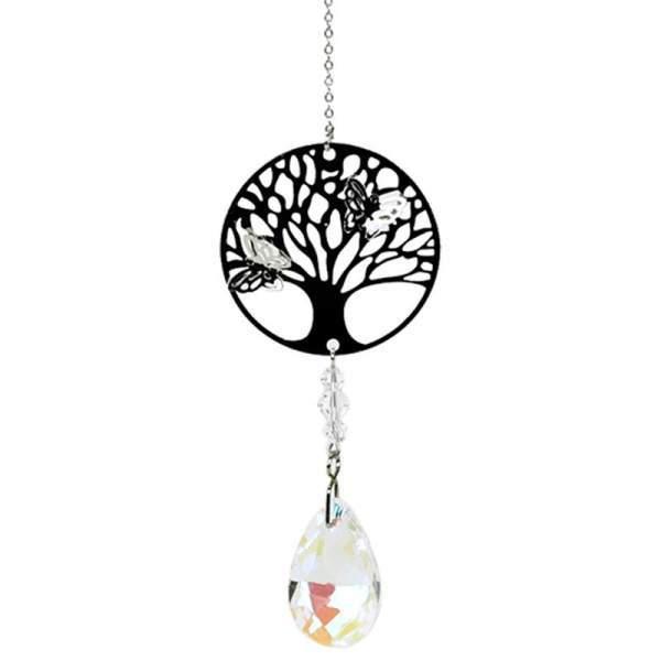 Tree of Life mit Regenbogen-Kristalltropfen weiß -- 30 cm