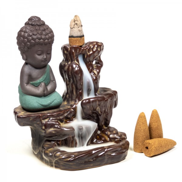 Rückfluss Wasserfall Weihrauchbrenner Kleiner Buddha